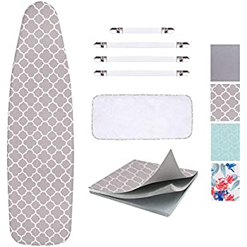 SUNKLOOF Scorch Resistance Ironing Board Cover and Pad Resists Scorching and StainingIroning Board Cover with Elasticized Edges and Pad 15