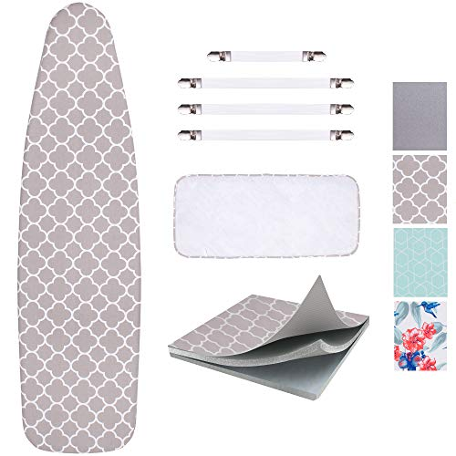 """SUNKLOOF Scorch Resistance Ironing Board Cover and Pad Resists Scorching and StainingIroning Board Cover with Elasticized Edges and Pad 15""""x54"""" 4 Fasteners and 1 Large Protective Scorch Mesh Cloth"""