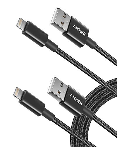 iPhone Charger, Anker 6ft Premium Nylon Lightning Cable [2-Pack], Apple MFi Certified for iPhone Chargers, iPhone Xs/XS Max/XR/X / 8/8 Plus / 7/7 Plus / 6/6 Plus, iPad Pro Air 2, and More(Black)