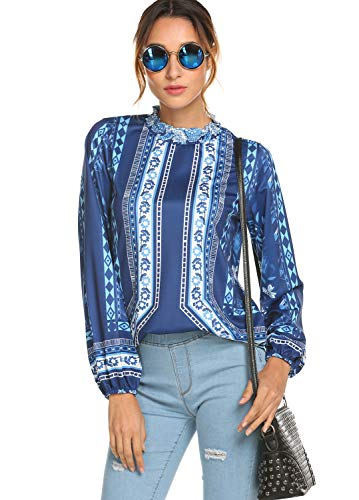 - Womens Tops and Blouses Bohemian Fall Clothes Floral Print Flare Tops Blouses T Shirts Pastel Blue,S