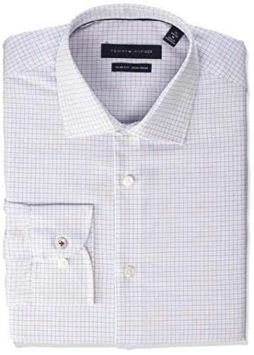 - Tommy Hilfiger Men's Dress Shirts Non Iron Slim Fit Check, Cobalt Blue, 14.5