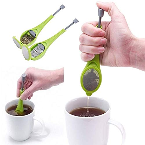 fublousRR5 Tea Ball Infuser, Reusable Loose Leaf Strainer Silicone Filter Swirl Steep Stir Press, Home Kitchen Utensils Gadgets Tool Green