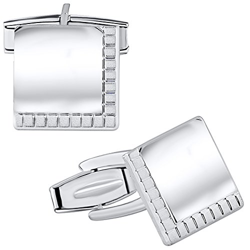 925 Cufflinks (Sterling Manufacturers Elegant Square Cufflinks for Men, 925 Sterling Silver Jewelry with Satin Finish Accent, 14mm, Engravable, Made in Italy)