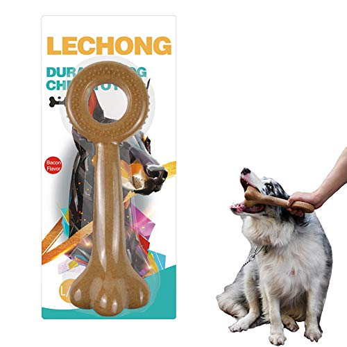 LECHONG Dog Chew Toys for Aggressive Chewers, Bacon Flavored Tough Dog Toys for Large Dog, Bones Shape with Handle Indestructible for Chewing Training and Playing