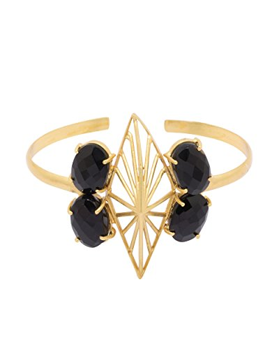 Voylla Gold Toned Cuff Bracelet Adorned With Black Stones For Women by Voylla