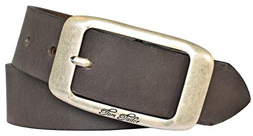 TOM TAILOR Damen Gürtel Damengürtel Leder Ledergürtel 40 mm used braun, Länge:95
