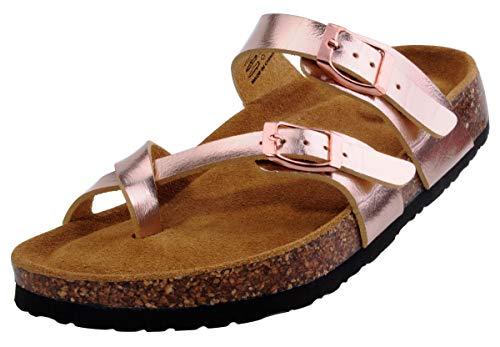 (festooning Women's Adjustable-Fit Cork-Footbed Summer Golden Slide Sandals 8 M US)