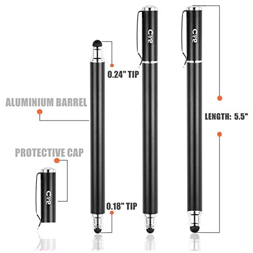 Bargains Depot B&D Capacitive Stylus Pen 2-in-1 Styli Touch Screen Pen with 20Pcs Replacement Rubber Tips for iPads, Tablets, iPhones, Samsung Galaxy Note/Tab, LG&HTC(Black, 5.5-inch)