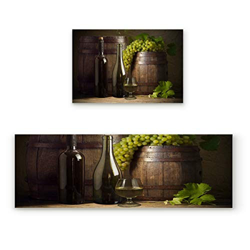 "KAROLA 2 Piece Non-Slip Kitchen Mat Doormat Runner Rug Set Thin Low Pile Indoor Area Rugs Wine Bottle Green Grapes 19.7""x31.5""+19.7""x47.2"""
