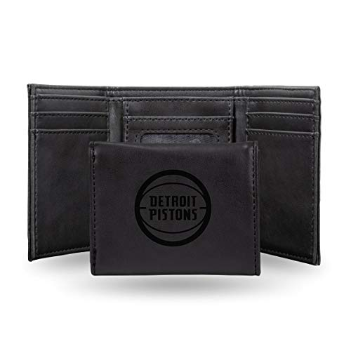 Rico Industries NBA Detroit Pistons Laser Engraved Tri-Fold Wallet, Black