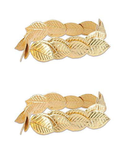 Gold Laurel Leaf Wreath - Beistle 66501, 2 Piece Fabric Roman Laurel Wreaths, One Size Fits Most