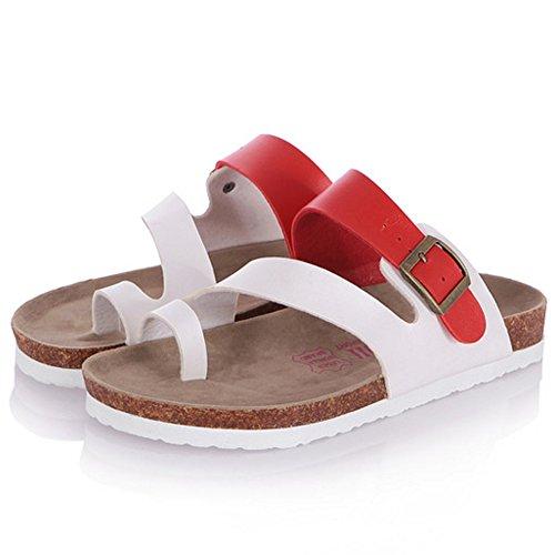 TAOFFEN Mujer Moda Plano Mulas Sandales Split Toe Slide Verano Zapatos 879 Rojo Hombres