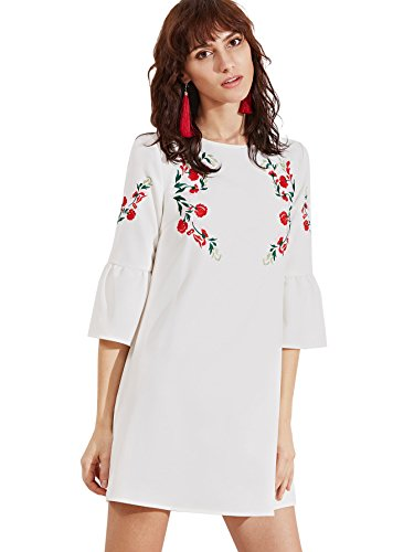 Floerns Women's Bell Sleeve Embroidered Tunic Dress White XL