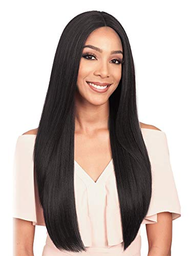 Medium Long Straight Hair Natural Black High Temperature Silk Chemical Fiber Wig Heat Resist Cospaly Party Bob Hair Wig for Lady Madam Daily Life