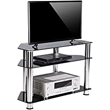 RFIVER Tempered Glass Small Corner TV Stand Suit for LED, LCD, OLED and Plasma Flat Screen TVs up to 37-Inch, 2 option shelf assemble, Black TS1002
