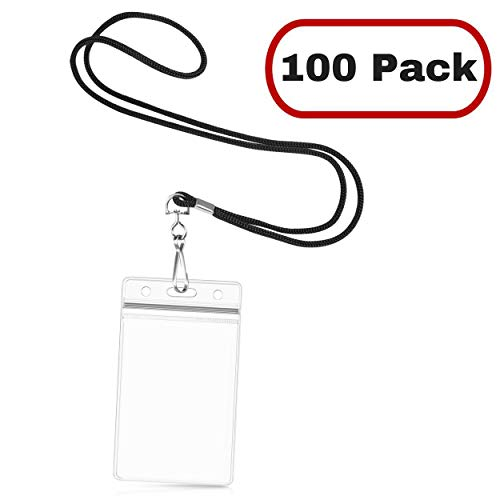 Mata1 Lanyard with ID Holder, Round Woven Lanyards and Clear Plastic Card Holders (Black Lanyard, 3.5 x 2.25