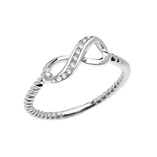10k White Gold Dainty Diamond Infinity Promise Ring With Rope Design Band(Size 8.25)