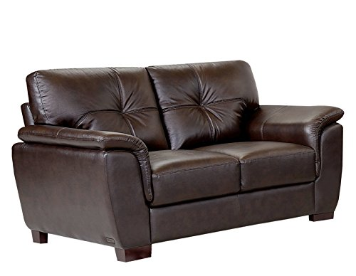 Abbyson Living Oswald Two-Tone Leather Loveseat, Brown