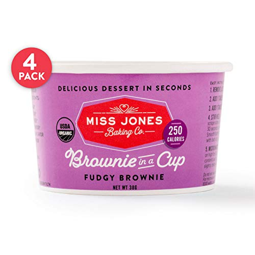 - Miss Jones Baking Organic Brownie In A Cup, Microwave in Under a Minute, Quick Mix, Less Mess Than a Mug: Fudge Brownie (Pack of 4)