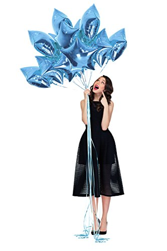 (Treasures Gifted Pastel Light Blue Foil Balloons for Baby Shower Moon and Stars Decorations 18 inch Twinkle Twinkle Little Star Baby Boy Star Themed Party Supplies Pack of 12)