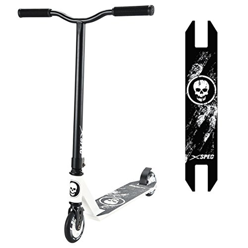 Xspec Pro Stunt Kick Scooter w/Strong Aluminum Deck, White & Black w/Skulls