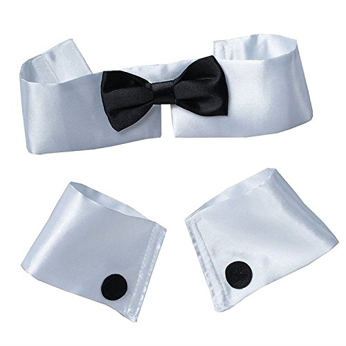 Forum Women's Costume Collar Bow Tie and Cuff Set, Black/White, One Size - Womens Tuxedo Costumes