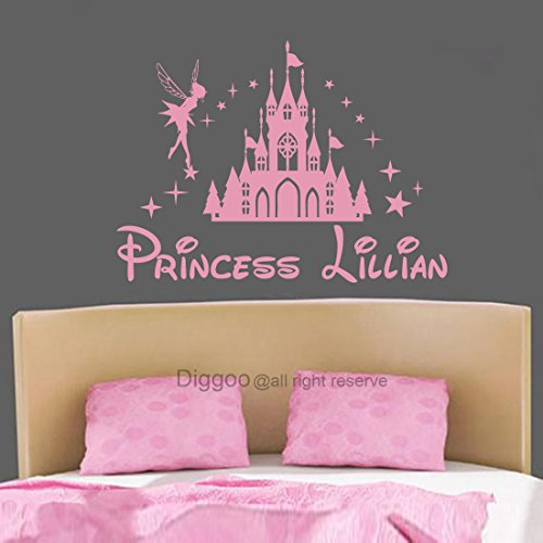 Diggoo Castle Wall Decal Fairy Wall Decal Personalized Princess Name Decal Children Wall Art Girls Room Decor (Soft Pink,29.5