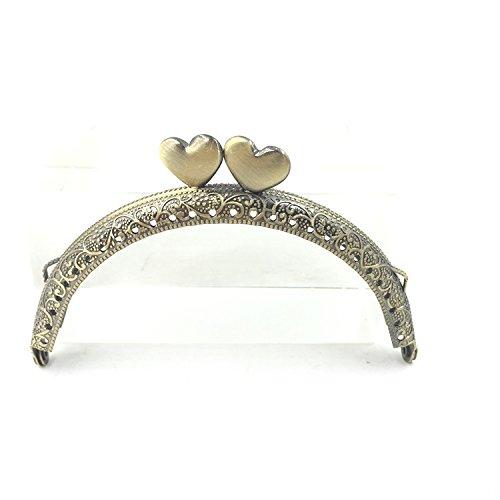 - GuoFa 12pcs 12.5cm Retro Half Round Bead Embossed Metal Heart Purse Frame Coin Bag Kiss Clasp Lock DIY Craft Assorted