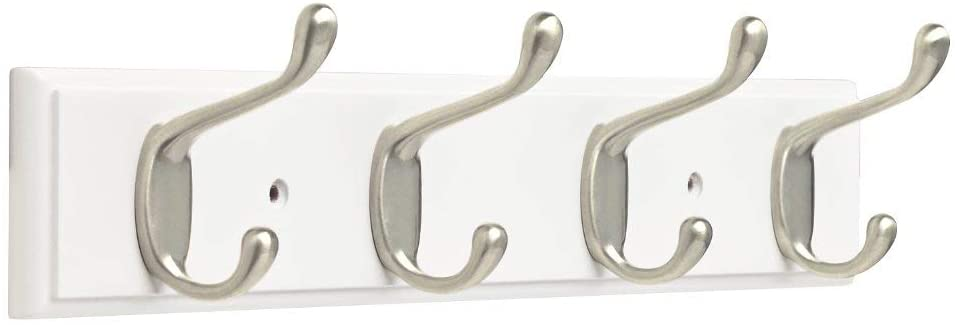 "Franklin Brass FBHDCH4-WSE-R, 16"" Hook Rail/Rack, with 4 Heavy Duty Coat and Hat Hooks, in White & Satin Nickel: Home Improvement"