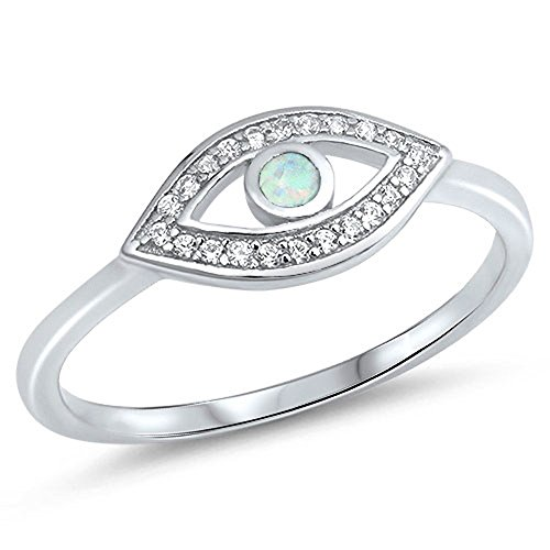 - White Simulated Opal Evil Eye Halo Ring .925 Sterling Silver Good Luck Band Size 9