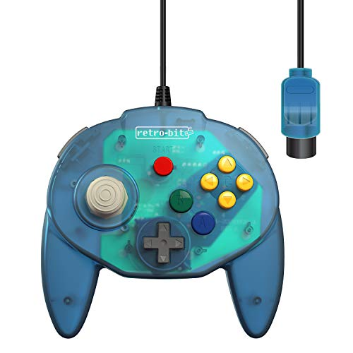Retro-Bit Tribute 64 Wired Controller for Nintendo 64 - Original Port - (Ocean Blue)