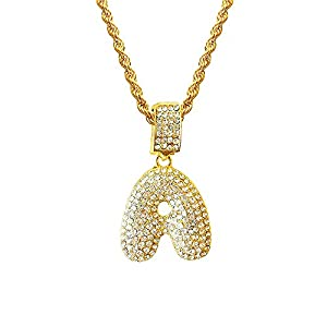 HH Bling Empire Hip Hop Iced Out Bling Crystal Diamond Bubble Dripping Initial Letters A to Z Rope Chains 20 Inch