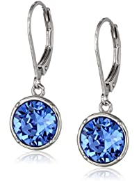 Sterling Silver Round Leverback Dangle Earrings Made with Swarovski Crystal