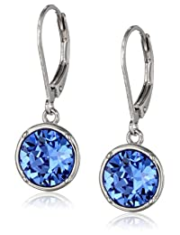 Sterling Silver Crystal Round Lever Back Drop Earrings