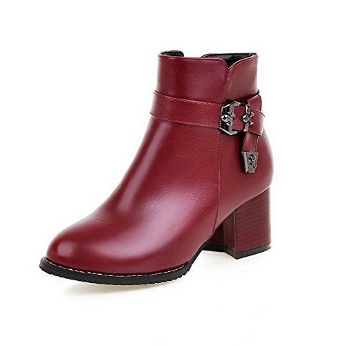 Toe Claret Kitten Solid Heels Closed Round Zipper AmoonyFashion Top Womens Boots Low wq80pT