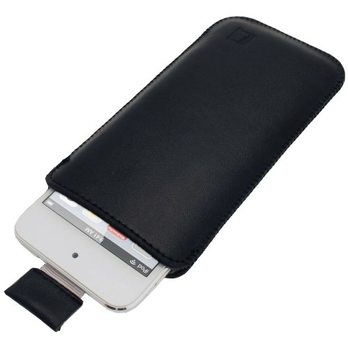 igadgitz Black Leather Pouch Case Cover for Apple iPod Touch 6th Generation (July 2015 onwards) & 5th Generation (2012-2015)