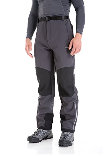 Clothin Men's Fleece-Lined Soft Shell Winter Pants - Ski Snow Insulated, Water and Wind-Resistant(Grey,XL,32L)