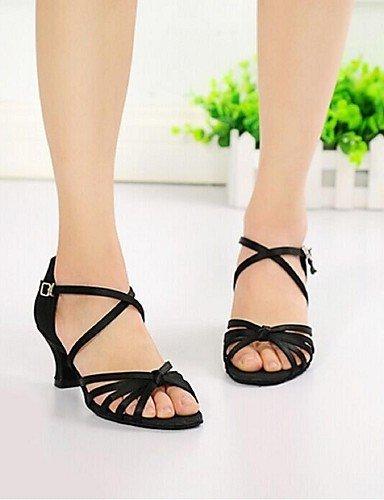 ShangYi Chaussures de danse ( Noir / Autre ) - Non Personnalisables - Talon Aiguille - Soie - Latine , black-us6 / eu36 / uk4 / cn36 , black-us6 / eu36 / uk4 / cn36