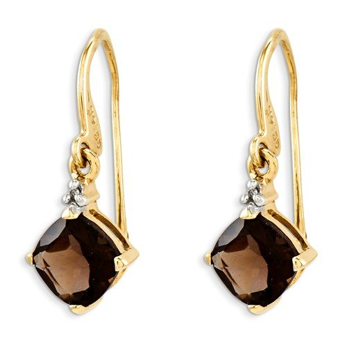 Solid 14k Yellow Gold Brown Simulated Smokey Quartz & Diamond Dangle Earrings (.01 cttw.) (25mm x 10mm)