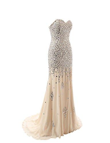 Langes Kristall Changjie Formal Ballkleid Abendkleider Beige Gown Damen Perlen Schulterfrei xE4vA