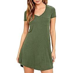 Eanklosco Womens Casual Short Sleeve Plain Pocket V Neck T Shirt Tunic Dress