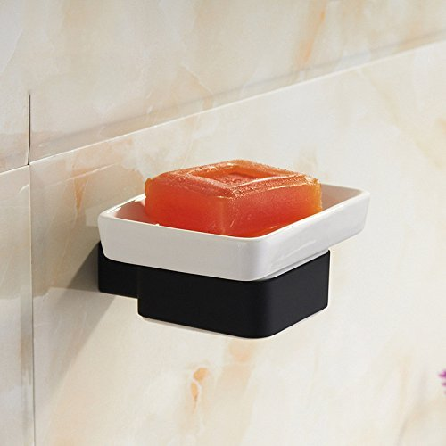Oudan Schwarzes Quadrat Gummi Seifenkiste Bad WC Anhänger Seifenschale Halterung