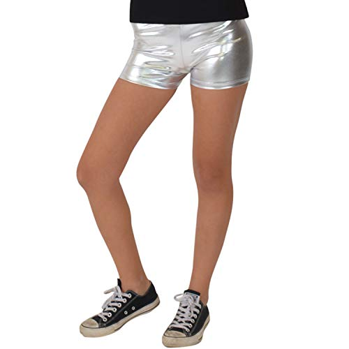 Stretch is Comfort Girl's Foil Metallic Booty Shorts Silver Medium ()