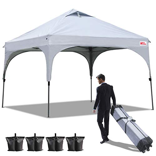 Cheap MASTERCANOPY Patio Pop Up Commercial Canopy 10×10 Beach Canopy Better Air Circulation Canopy with Wheeled Backpack Carry Bag (Grey)