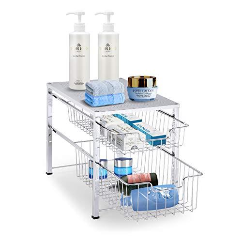 Simple Trending 2-Tier Under Sink Cabinet Organizer with Sliding Storage Drawer, Desktop Organizer for Kitchen Bathroom Office, Stackable, Chrome
