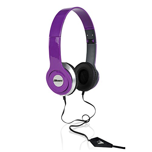eries Over Ear Wired Stereo Headphone Comfort Headset with Microphone Purple ()