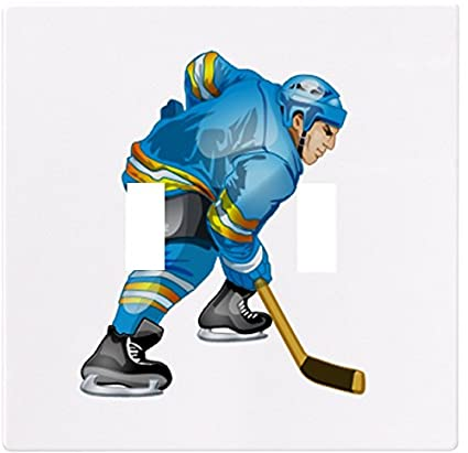 Blue Hockey Player Wallplate Decorative Switch Plate Cover 2 Gang