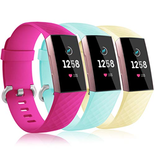Maledan Waterproof Bands Compatible with Fitbit Charge 3 and Charge 3 SE, Breathable Soft Strap Accessories Replacement for Women Men, 3 Pack Large, Rose Pink/Mint Green/Mellow Yellow