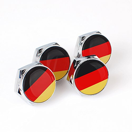 Plate Flag Set (KUJOOY Set of 4 German Flag Logo License Plate Frame Screw Bolt Cap Cover)