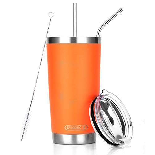 DYNAMIC SE Tumbler Double Wall Stainless Steel Vacuum Insulated Travel Mug with Splash-Proof Lid Metal Straw and Brush (Orange, 20oz)